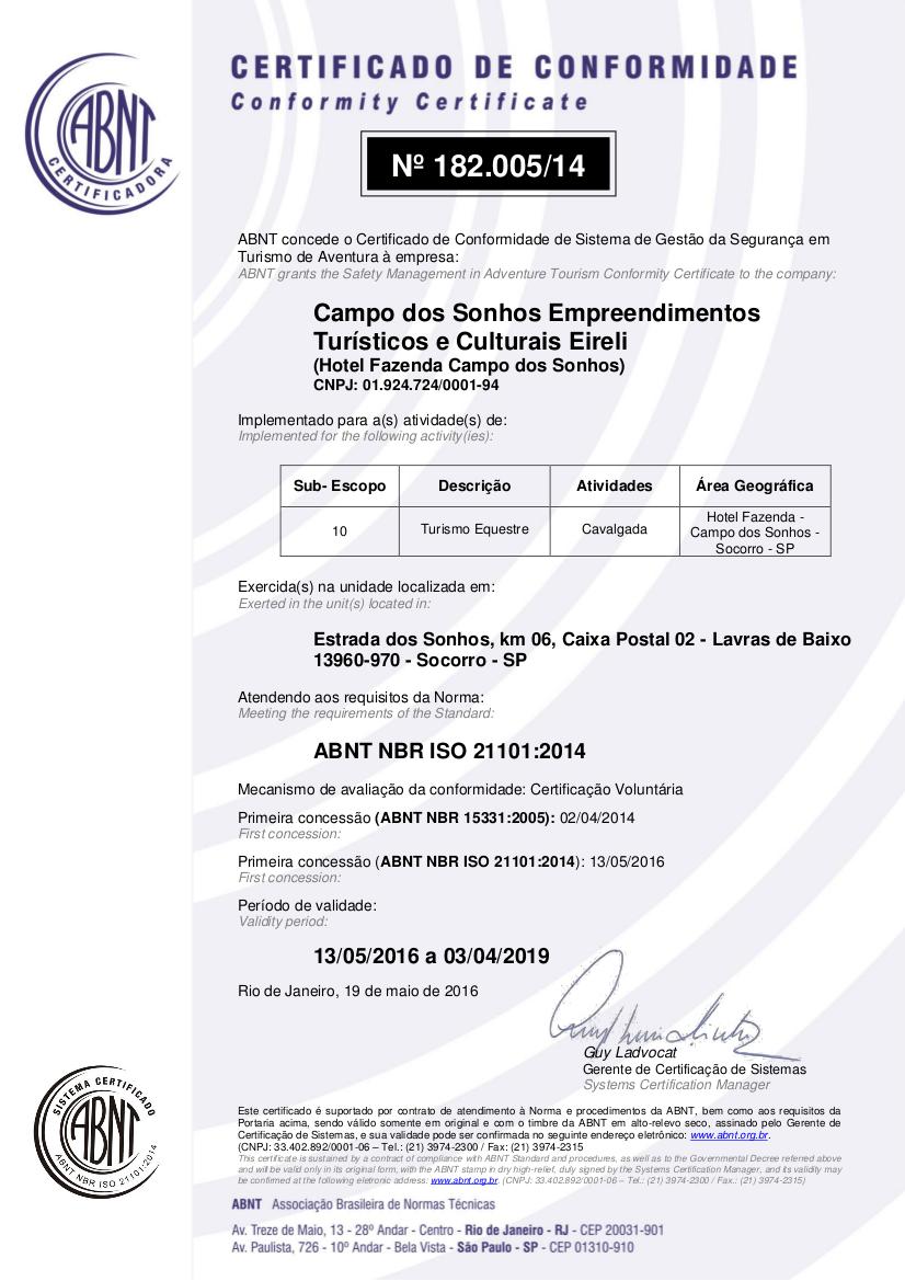 Certificado internacional ISO
