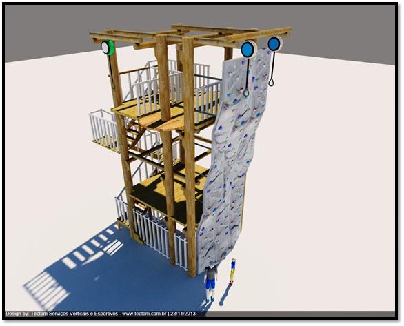 Torre Multi funcional: Arvorismo, Escalada. Tirolesa e Queda Livre